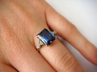 10K YELLOW GOLD OLD CUT DIAMONDS AND BLUE STONE VINTAGE LADIES RING, SIZE 6.25
