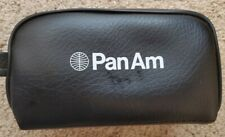 VINTAGE PAN AM AIRLINES TOILETRIES ACCESSORIES BAG Black Leatherette with 2 cups