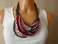 Red Grey White Rebel Boho Handmade Alternative Necklace Birthday Womens Gift