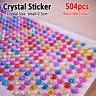504pcs Self Adhesive Crystal Sticker Acrylic Rhinestone Craft Decoration Decal