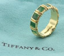 Tiffany & Co. 18K 750 Yellow Gold Green Enamel Inlay Eternity Band Ring - Size 6
