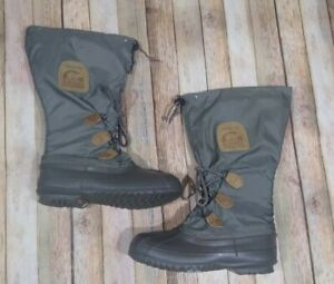 Sorel Kaufman Canada Insulated Snow Boots Size 7 Gray Lace Up Tall Winter