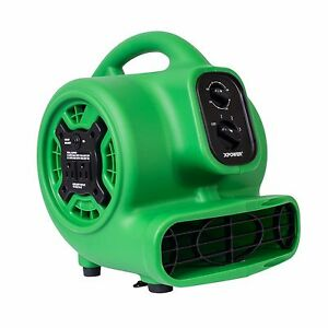 XPOWER P-230AT 1/4 HP Mini Air Mover Carpet Floor Dryer w/ Timer & Outlets-Green