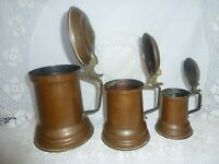 ANTIQUE VINTAGE COPPER BRASS MEASURING SET PITCHER 3 LIDDED JUR JUG ART NOUVEAU