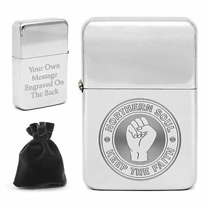 Northern Soul Lighter Keep The Faith Clenched Fist Personalised Engraved Message