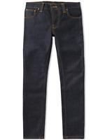 Nudie Herren Slim Fit Raw Jeans Hose |Grim Tim Dry Navy |12.7oz Stretch Denim