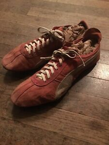 Vtg 1950s Early Rare Puma Red Leather Track Spikes Shoes Mens 10 Germany Dassler