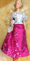 Barbie Doll pull string long or short hair Silver top long pink sequined skirt