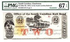 South Carolina Charleston Rail Road $2 PMG 67 EPQ 2 DIGIT SERIAL #-STUNNING!!!