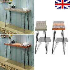 Narrow Console Table Telephone Stand End Side Table W/ Retro Pattern Brown/Grey