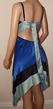 VICKY MARTIN blue black BACKLESS cocktail dress races wedding party 8 10 12 BNWT