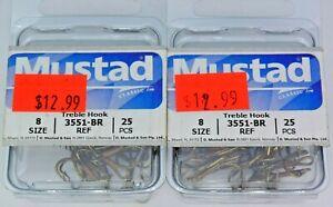 Two 25-Packs Mustad 3551-BR Size 8 Bronze Treble Hooks