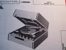 SONY HP-17 PHONOGRAPH - RECORD PLAYER PHOTOFACT
