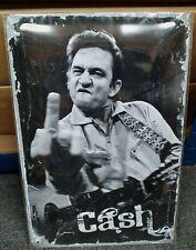 More details for johnny cash (finger), embossed(3d) metal advert/ sign, 12