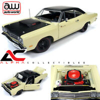 AUTOWORLD AMM1179 1:18 1969/5 PLYMOUTH ROAD RUNNER COUPE YELLOW W/BLACK TOP