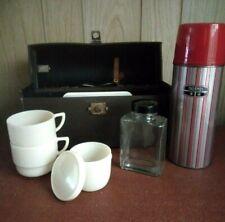 Vintage Coracle Picnic Box Original Cups & Bottle
