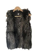 H&M Faux Fur Gilet Size10 Black & Brown