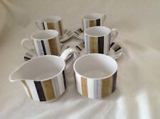 4 X MIDWINTER QUEENSBERRY STRIPE COFFEE CUPS & SAUCERS WITH MILK JUG SUGAR BOWL