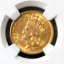 1854 Gold $3 Indian Princess Head Ngc Mint State 62 First Year Issued