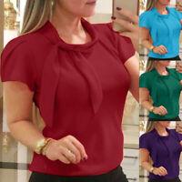 AU Women Elegant Blouse Short Sleeve Bow Chiffon Blouse Summer Tops Office Shirt