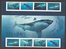 US 5227a Sharks forever header gutter block (8 stamps) MNH 2017