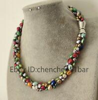 3 Stränge 6-9mm Mehrfarben Barock Süßwasser Perlen Twist Halskette 18 Zoll