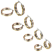 2pcs Womens Silver Gold Tone Stainless Steel Rhinestone Round Hook Hoop Earrings