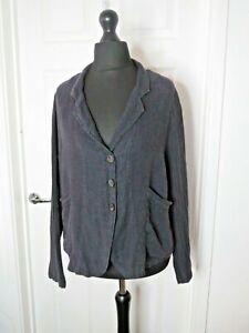 Grizas Ladies Jacket 100% Linen Grey UK Medium Relaxed Button Pocket Textured