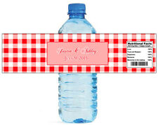 100 Red Gingham Wedding Anniversary Engagement event Party Water Bottle Labels