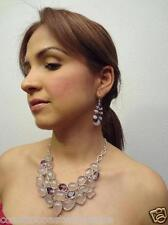 Solid Sterling Silver 925 AMETHYST ROSE QUARTZ Necklace, Earrings Set # 1004