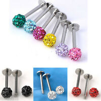 1pc Lip Chin Labret Ring Bar Stud Tragus Steel Czech Crystal Body Piercing 16G