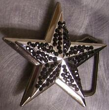 Pewter Belt Buckle Rhinestone Star black NEW
