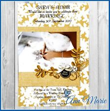 10 PROFESSIONAL PERSONALISED WEDDING DAY INVITATIONS CARDS GOLD INVITE CARD