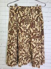 Vtg 60s Herman Geist Beige Floral Hawaiian Patterned Modest Skirt Womens Sz 9/10