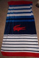 """Lacoste  Swim Beach Towel 100% Cotton New/Tag Multi Striped  36"""" x 70"""" Authentic"""