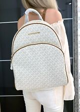 MICHAEL KORS ABBEY LARGE BACKPACK MK SIGNATURE PVC LEATHER VANILLA
