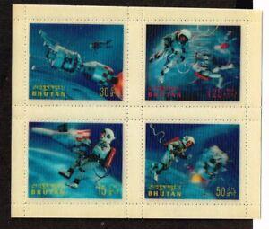 BHUTAN - 1967 Space Achievements  minisheet 3D    -  no.2218