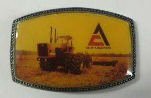 Vintage ALLIS-CHALMERS 8550 TRACTOR Belt Buckle Pewter Enamel Photo MY LAST ONE!
