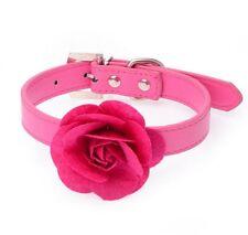 collier avec une rose pour chien taille M