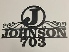1010- Personalized House Address Plaque with Name and Number, Last name Initial