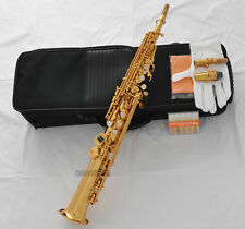 AAAAA Top Gold Straight Soprano sax Saxophone Bb High F# G Key 2 Neck +10Pc Reed