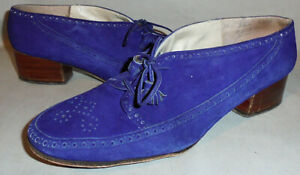 -Rare- 1940's -Mademoiselle- Vintage Purple Suede Ladies Heel Shoes - Size 8