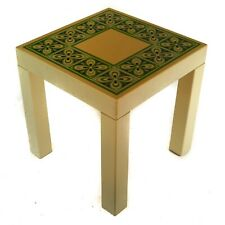 1970's Psychedelic Design Mid-Century Plastic Patio Side Small Table Green White