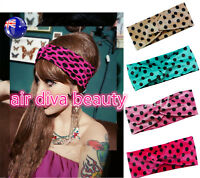Women Retro Party Velvet Dots 60' 70' 80' Cross Twist Hair Headband wrap Bandana