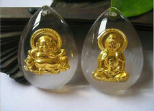 2PCS Solid 999 24K Yellow Gold & Crystal  Lucky Guanyin And Buddha Pendant