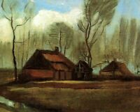 Farmhouses Among Trees by Vincent Van Gogh Giclee Fine Art Print CANVAS SM 8x10