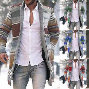 Long Jacket Overcoat Cardigan Outwear Casual Men Trench Coat Winter Warm Striped