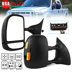 LSAILON Tow Mirrors Towing Mirrors Fit for 1999-2007 Ford F250 F350 F450 F550 Super Duty Truck 2000-2005 Ford Excursion with Left and Right Side Manual Control Non-Heated Without Turn Signal Light