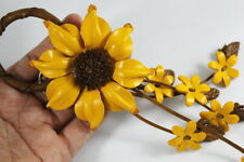 Sunflower Daisy Yellow Flower Key chain Genuine Leather Handbag Purse Charm Snap
