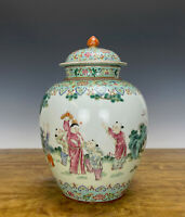 19th c. Chinese Qing Daoguang Famille Rose Figure Baluster Porcelain Vase w Lid